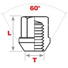 60° Seat Replacement Wheel Nuts (Closed End)