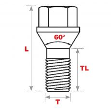 60° SEAT REPLACEMENT WHEEL BOLTS dimension line drawing